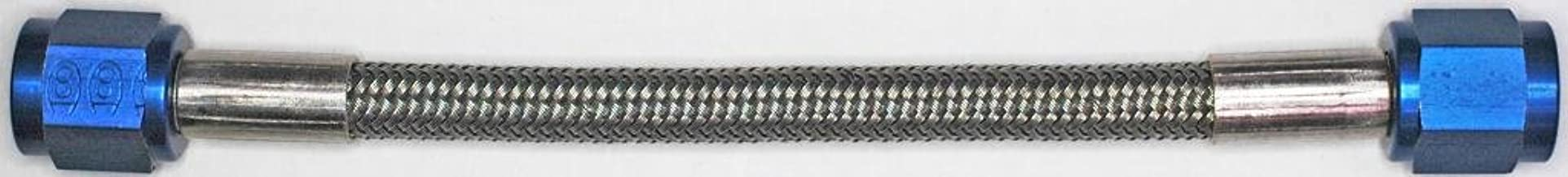 AN-4 72 In. Long Stainless Steel Braid Teflon Hose/blue straights NC