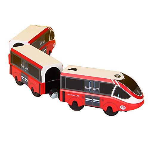 Herbests Elektrische Lok Zug Elektrische Hohe Geschwindigkeit Spielzeug Magnet Batteriebetriebener Holzeisenbahn Zug Lokomotive Spielzeug Geschenk für Kinder Kleinkind