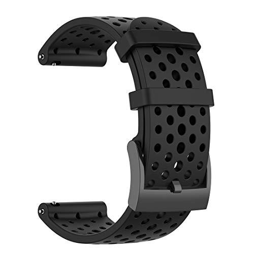LOKEKE Suunto Spartan Sport - Correa de repuesto de silicona de 24 mm para Suunto Spartan Sport Wrist HR Baro/Suunto D5/Suunto 9 barro (silicona negra)