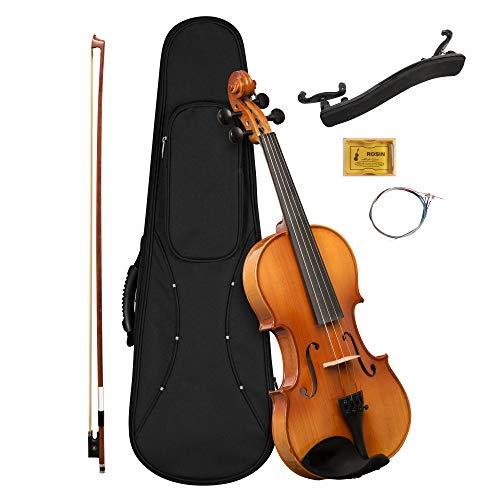 CASCHA - Violino 4 4 per principianti, ragazzi e adulti, violino massiccio con archetto, colofonia, corde di ricambio, supporto per spalla, valigetta, abete naturale 4 4