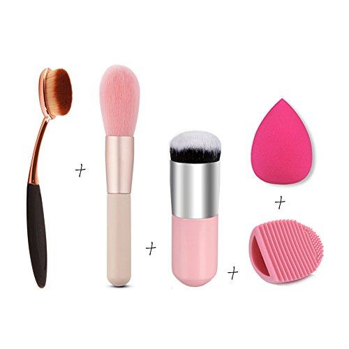 5pcs / set attrezzo di trucco di bellezza - Powder Puff, spazzola Cleaner, pennelli cosmetici