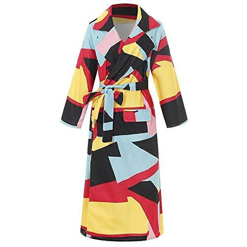 Cappotto Invernale Cappotto da Donna in Lana Cappotto da Donna Cappotto Lungo Moda Cappotto con Manica Lunga Stampa Risvolto