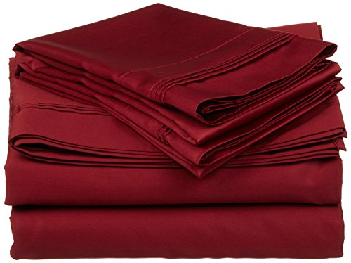 American Linen Adjustable King Premium Quality, Heavy Egyptian Cotton Sateen Burgundy Solid 7-PCs Bed Sheets Set-27 Inches Deep Pocket (Split-King)
