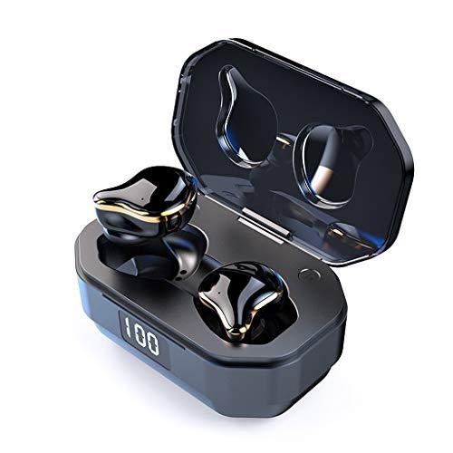 Bluetooth Kopfhörer,Kabellose In-Ear-Kopfhörer Kabelloser Earbud 5.0 Stereo-Kopfhörer mit Bass-In-Ear-Headset für iPhone, Samsung, Huawei (Schwarz)