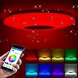 Lámpara de techo led regulable,altavoz RGB con Bluetooth, Lampara con música,música para dormitorio, con aplicación a distancia, para habitación de los niños, regalo, 185-265v,36cm,60w