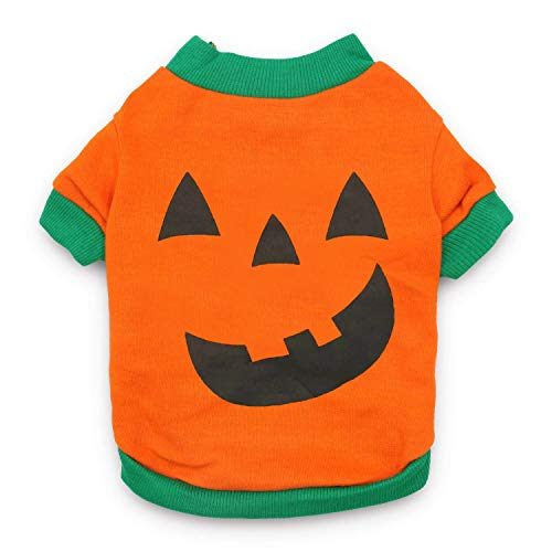 DroolingDog Pet Clothes Dog Halloween T-Shirt Pumpkin Head Costume for Small Dogs, Small, Deep Green