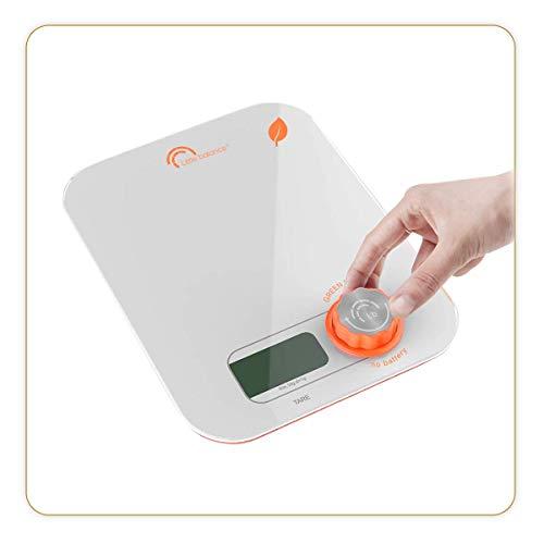 LITTLE BALANCE 8346 Kinetic Flower Orange - Balance de cuisine sans pile - Ecologique grâce à son bouton Little Balance - 5 kg / 1 g