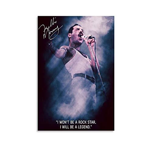 Chozhe Freddie Mercury Frontman of Pop Rock Band Queen Art Grande Cantante Stampa artistica su tela Stampa su tela Modern Family Camera da letto Decor Poster 40 x 60 cm