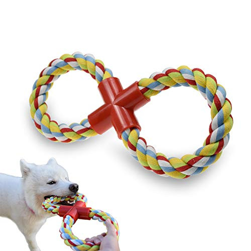 Dog Rope Toy Dog Chew Toys, 8-Shaped Durable Dog Training Toys for Large Dogs, Upgrade Indestructible Tug of War Dog Toys for Teething Chewing and Playing