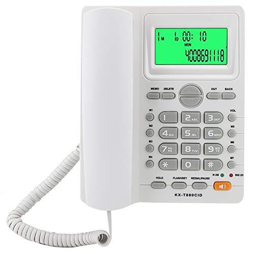 Gatuxe Teléfono residencial, teléfono con función de Silencio para el hogar para la Oficina(White, 10)