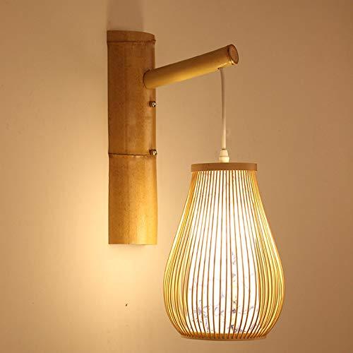 SXXYTCWL Luz Colgante Moderna Lámpara de Pared de araña Ajustable Retro una Fuente de luz E27 / E26 Base Compatible Edison Linterna de bambú Linterna Luz de suspensión Restaurante apropiado Mue