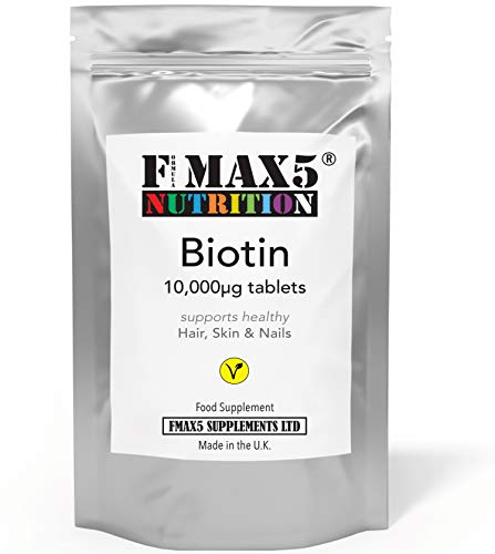 Biotin Hair Growth Supplement, 30-365 Tablets (1 Month to Full Year Supply) Biotin 10,000MCG by FMax5 Supplements (365)