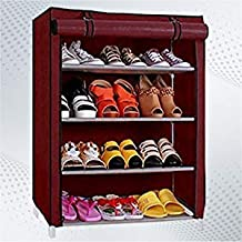 Aysis Foldable Shoe Rack with 4 Shelves (Plastic Rod)