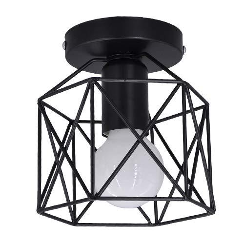 """LLY Lámpara de techo LED, candelabro de luz de techo tipo jaula de metal negro 6000K, 500LM Luces de techo montadas en superficie brillante para pasillo, cocina, pasillo, balcón (5.11 """")…"""