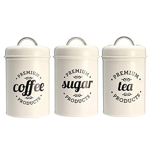 N-B Juego de 3 cajas de almacenamiento para té, azúcar y café para cocina, recipientes de alimentos, frascos, botellas de almacenamiento de caramelos, tarros de boxeo, 3 unidades