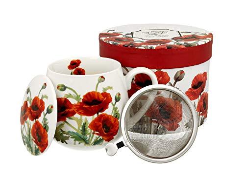 Tee-Tasse Teebecher Set mit Teesieb (Edelstahl) und Deckel Porzellan Teetasse bauchig mit Sieb Geschenk-Tasse Blumen 400 ml von DUO 3teilig in Geschenkbox Becher Kräuter-Teetasse (Mohn Classic)