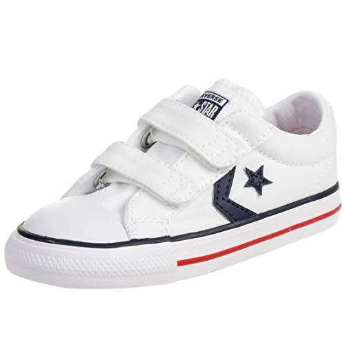 Converse Star Player EV Triple V Ox Blanco/Azul (White/Navy) Tela Niño Entrenadores Zapatos