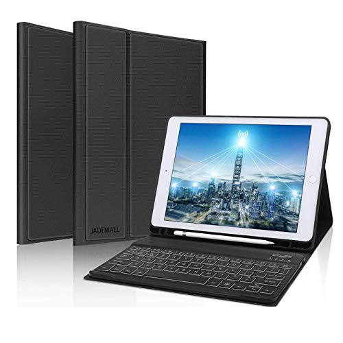 Teclado Trackpad para iPad Air 4 2020, DINGRICH Funda con Teclado Español Touchpad Bluetooth Inalámbrico Extraíble Recargable 7 Color Retroiluminada para iPad Air 4 10.9'/iPad Pro 11' 2020/2018 Negro