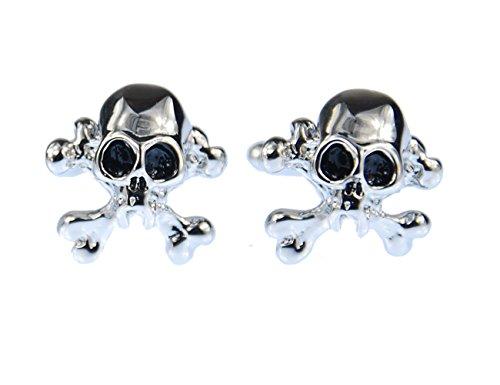 Miniblings Totenkopf Manschettenknöpfe Knöpfe + Box Skull Schädel Halloween silb