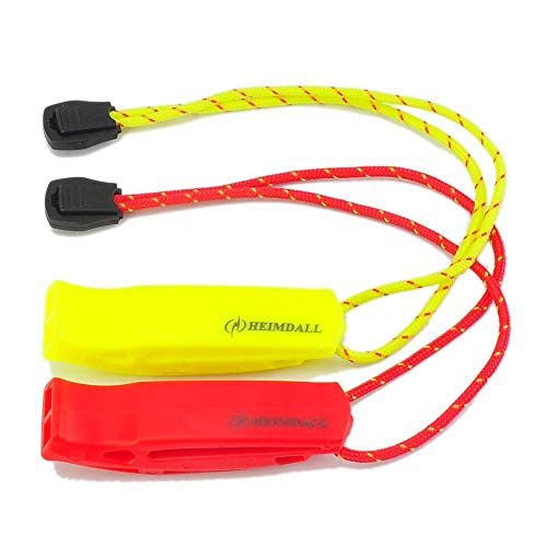 HEIMDALL Emergency Whistle with Lanyard for Safety Boating Camping Hiking Hunting Survival Rescue Signaling (Red  Yellow)