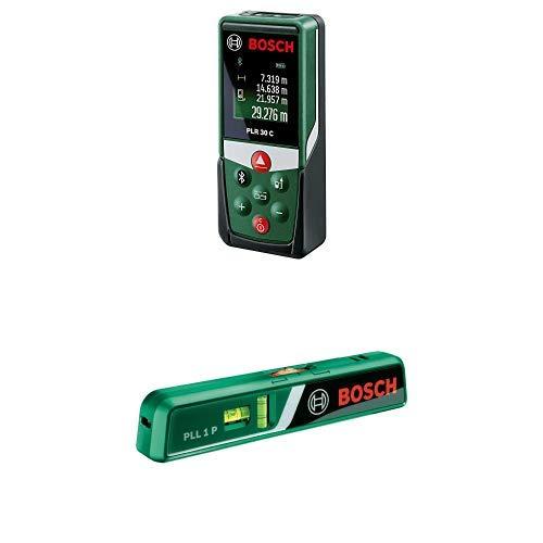 Bosch Laser Entfernungsmesser PLR 30 C + Laser-Wasserwaage PLL 1 P