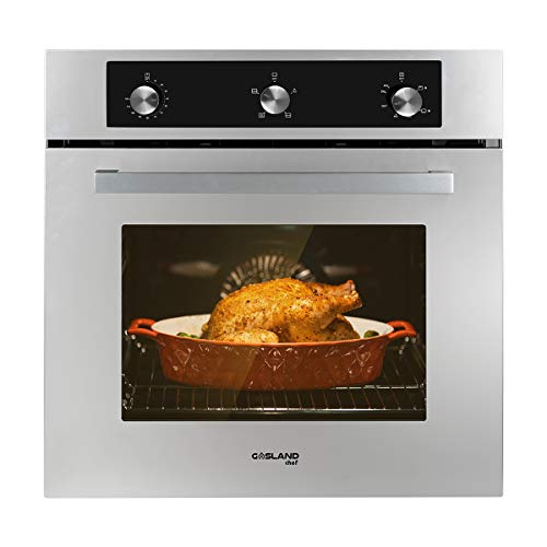 "Single Wall Oven, GASLAND Chef GS606MS 24"" Built-in Natural Gas Oven, 6 Cooking Function Convection Gas Wall Oven with Rotisserie, Mechanical Knob Control, 120V Electric Ignition, Stainless Steel"