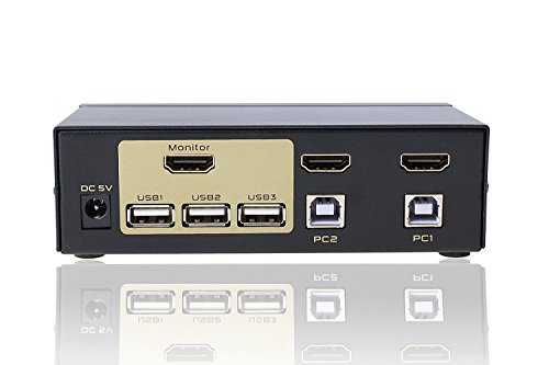 FJGEAR 2 Ports USB 2.0 HDMI KVM Switch Keyboard Mouse Switcher for PC, Windows,(Wireless mouse keyboard is not supported,No power)