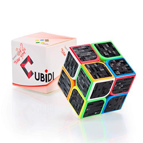 CUBIDI® Cubo 2x2 Mágico - Tipo New York - con Pegatina de Carbono – Fidget Toy 2x2x2 con Características Optimizadas de Speed Cubing - Juguetes Sensoriales para Anti Estrés - para Niños y Adultos