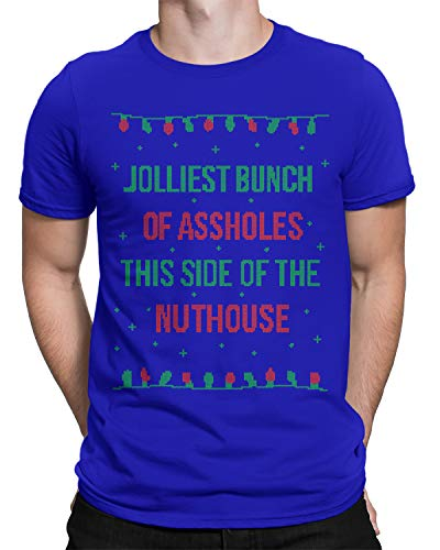 Jolliest Bunch of A-Holes Ugly Christmas Men's T-Shirt X-Large Royal