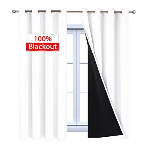 Yakamok White 100% Blackout Curtains, 2 Thick Layers Full Light Blocking Thermal Insulated Drapes with Black Liner for Bedroom(52Wx63L, Pure White, 2 Panels)