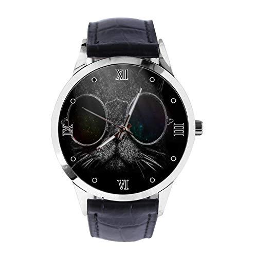 Reloj de pulsera unisex analógico de cuarzo con correa de piel, color negro