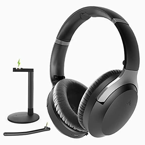 Avantree Aria Podio aptX-HD Bluetooth 5.0 Noise Cancelling Kopfhörer mit Ladestation, Kabellos Over Ear Headset mit Boom-Mikrofon für Besprechungen, Online-Unterricht, Arbeiten am PC, Handy, Laptop