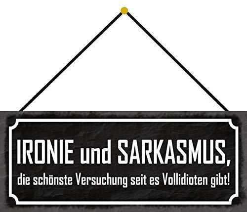 FS Ironie Sarkasmus Blechschild Schild gewölbt Metal Sign 10 x 27 cm mit Kordel