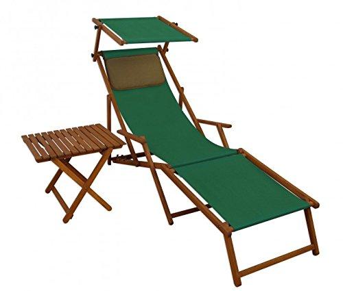 Erst-Holz Sonnenliege grün Liegestuhl Fußteil Sonnendach Tisch Kissen Gartenliege Deckchair 10-304FSTKD
