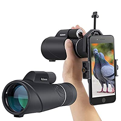 [2019 Upgraded] 10-20x50 Kalawen Zoom Monocular Telescope Compact with Smartphone Holder and Tripod, Waterproof Monocular with BAK4 Prism Scope for Bird Watching Hunting Camping Shooting Range Hiking from Kalawen