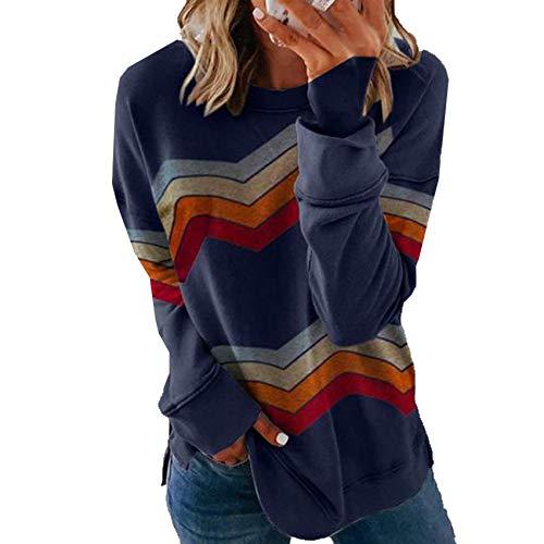 LiDaiJin Camiseta de Jersey de Todo fósforo a Juego de Colores a Rayas Top de Mujer