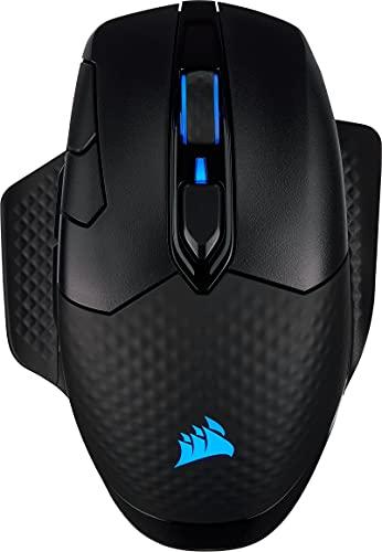 Corsair Dark Core RGB PRO SE kabellose Gaming-Maus mit kabelloser Qi-Aufladefunktion (18K DPI Sensor, Acht Programmierbare Tasten, Dynamische iCUE RGB-Hintergrundbeleuchtung) schwarz
