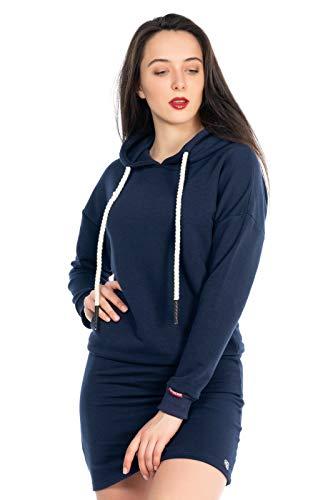 KENNY BROWN Damen Pulli-Kleid Sweater Pullover-Kleid Sweatkleid Dicke Kordel-Kapuze Hoodie einfarbig Mode Minikleid 503 (Navy-Blau, S)