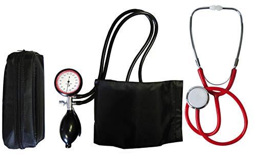 Blutdruckmessgerät Oberarm 2-Schlauch + Stethoskop Flachkopf rot Schwesternstethoskop TIGA-MED