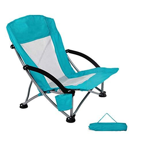 Low Sling Camping Chair mit hoher Rückenlehne, klappbarer tragbarer Loungesessel, Leichter, robuster Outdoor-Stuhl für Picknick-Strand-Grill A.