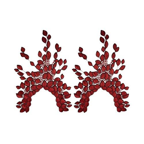 EXCEART 2 Piezas de Encaje Floral Cuello Escote Cuello Recortar Ropa Costura Apliques Collar Pegatinas para Vestido de Novia (Rojo Oscuro)