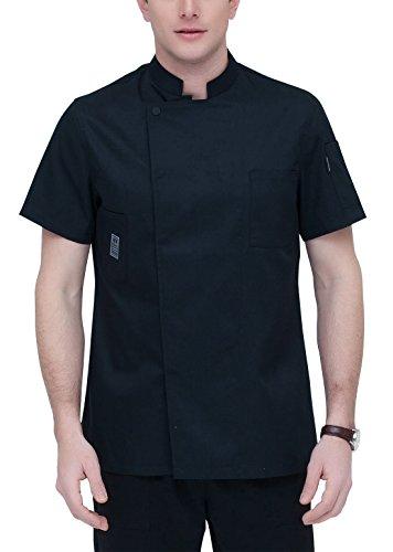 AIEOE Blouse de Cuisinier Uniforme Homme Coton Respirant Poches Veste de Cuisine Chef Professionnel Boutons Disimulés Manches Courtes pour Restauration Hôtel Taille L - Noir