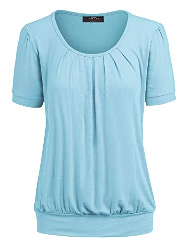 Made By Johnny MBJ WT1175 Womens Scoop Neck Short Sleeve Front Pleated Tunic XL Aqua