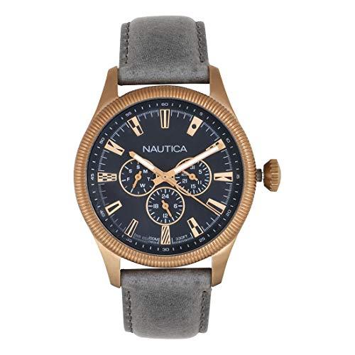 Nautica Herren Analog Quarz Uhr mit Leder Armband NAPSTB003