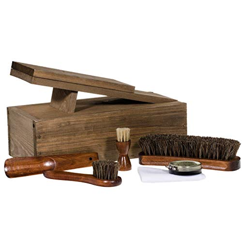 SIDCO Schuhputzkasten Holz Schuhputzset Schuhpflege Reinigungsbürste Schuhpflegeset