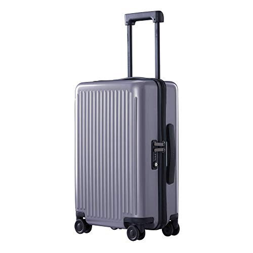 NINETYGO Hardside Luggage with Spinner Wheels, 100% Polycarbonate Geometric Suitcase with TSA Lock for Travel, Large Capacity & Stylish Sleek Design (24-inch Checked-Medium Gray)