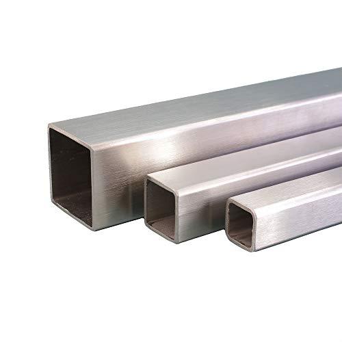 V2A Edelstahl Rohr quadrat/vierkant Oberfläche geschliffen, Korn 240 Länge 1000 mm Abmessungen 30 x 30 x 2 mm