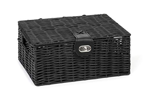 Arpan Small Resin Woven Storage Basket Box with Lid & Lock - Black
