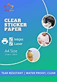 True-Ally 25 sheets Clear Self Adhesive Sticker Photo Paper for Inkjet and Laser Printer (Transparent) Waterproof, Dries Quickly, Tear Resistant DIY Sticker Printing Label Art (A4-25 Sheets)