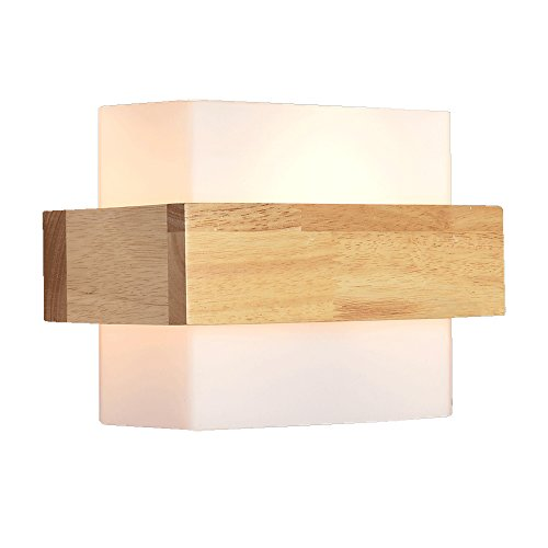 BD Moderne Verre simple Applique murale en bois Lampes à la chambre Lampe de chevet Éclairage d'escalier E27 Applique murale carrée 40W A++